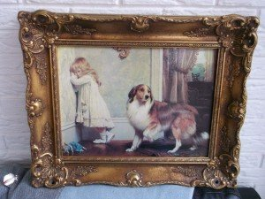 painting of a dog and a girl