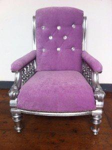 rococo style velour armchair