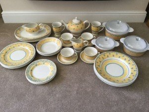 t dinner set in yellow