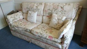 floral upholstered fabric sofa