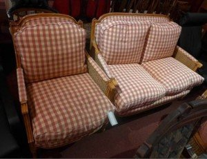 A Bergere two piece suite