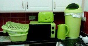 bright green kitchen appliances