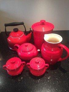 red Le Creuset set