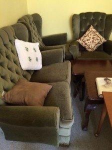 velvet upholstered sofa
