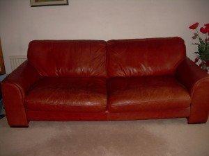 terracotta upholstered sofa