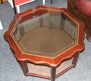 octagonal mahogany coffee table