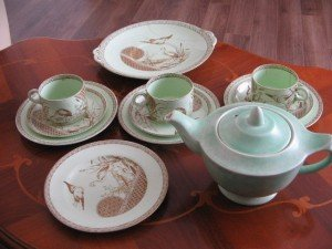 green and brown vintage tea set