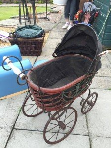 red and black pram