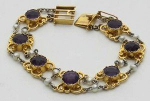 amethyst and seed pearl bracelet