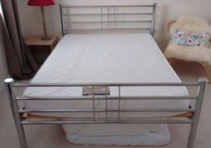 double chrome metal bed