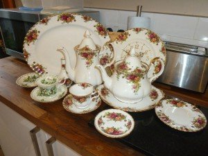 country rose tea set