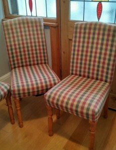 three dining chairs