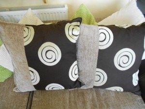 six sofa cushions