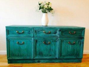 teal rustic sideboard dresser