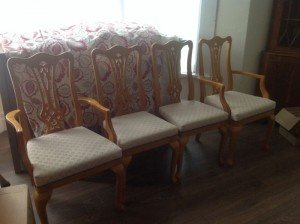 Beech carved dining chairs