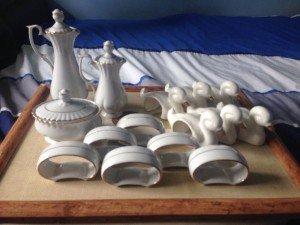 gold rimmed porcelain set