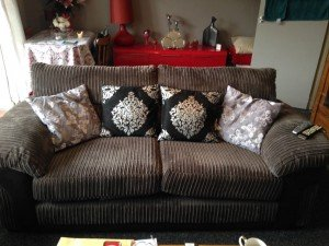 velour two seater sofa