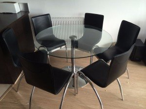 glass circle dining table