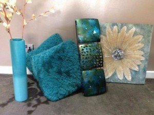 teal living room accessories