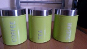 Lime Green Coffee Tea Sugar Canisters Cbaarch