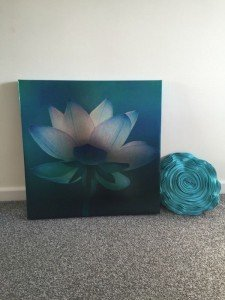 teal floral wall canvas