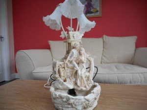 ornamental polychrome table lamp