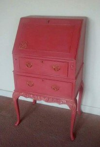 painted red desk