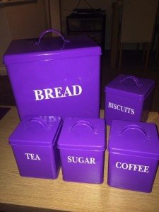 purple metal kitchen canisters