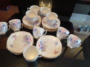 gold rimmed tea service