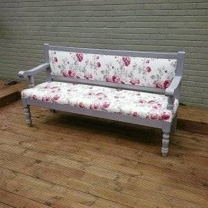 bench with floral upholstery