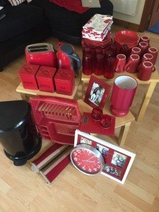 collection of red household items