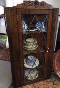 oak corner display cabinet