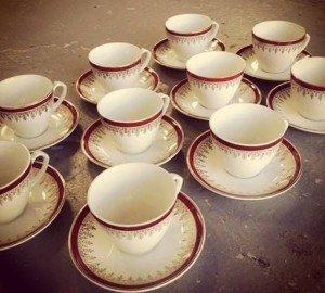 ten vintage teacups