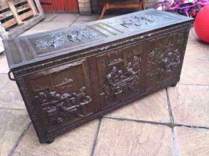 Victorian brass lined coffer