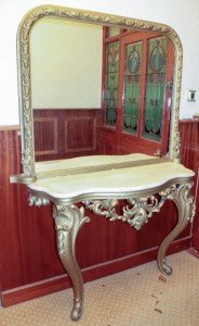 table and gilt mirror