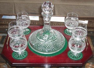 decanter and tray