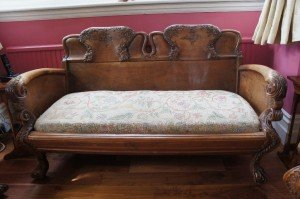 solid oak two seater sofa