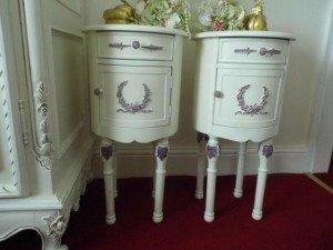 circular carved bedside tables