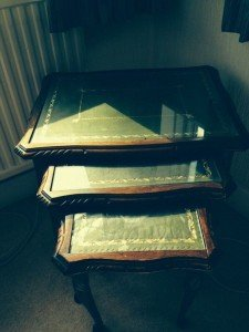carved side tables,