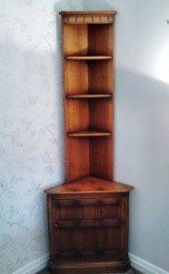 wood corner shelving unit