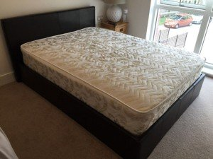 leather upholstered bed frame