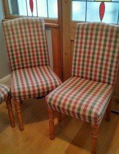 three dining chairs