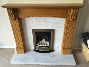 marble and oak fireplace