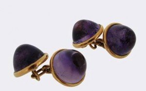 amethyst set gold cufflinks