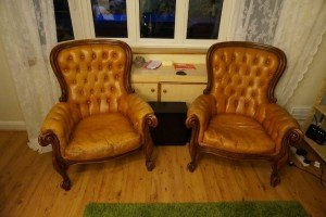 mahogany base armchairs