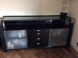 glass topped sideboard
