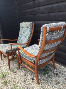wooden based armchairs