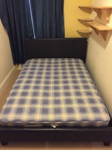 leather raised double bed