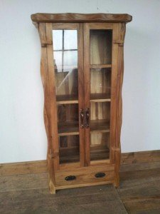 pine double display cabinet