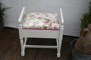 white piano stool